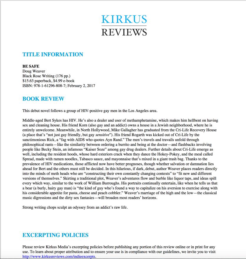 Kirkus review Be Safe